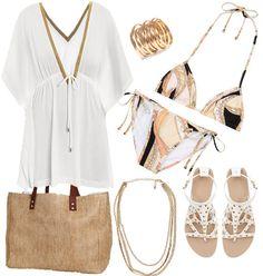 Beach Outfit in black Look Fashion, Fashion Outfits, Womens Fashion, Cute Summer Outfits, Cute Outfits, Beach Vacation Outfits, Tropical Fashion, Beach Attire, Beachwear Fashion