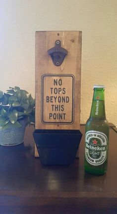 Wall Mounted Bottle Opener for the Man Cave. Decorate the bar with a handmade bottle opener - perfect gift for guys!