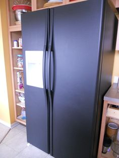 I'm going to paint my refrigerator!   I LOVE this idea because I certainly can not afford to buy a new fridge just because mine is ugly old 'almond'.  I have to say that I do not like the 'chalkboard'... but matte or even glossy black looks nice! This is a good link too: http://www.ehow.com/how_4546626_paint-refrigerator.html