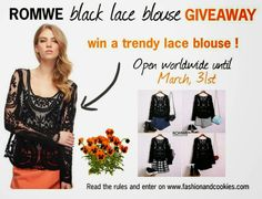 Giveaway Monkey: Black Lace Blouse Giveaway - International Free Giveaways Online