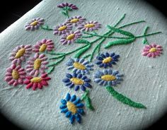 Hand Embroidered Floral Vintage Linen Tablecloth
