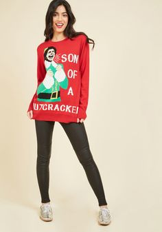 You need to wear this son of a nutcracker Elf holiday sweater.
