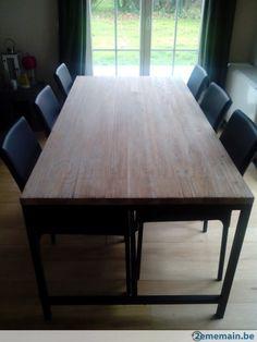 table bois et metal lege