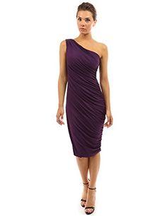 PattyBoutik Women's One Shoulder Cocktail Dress (Dark Purple S)