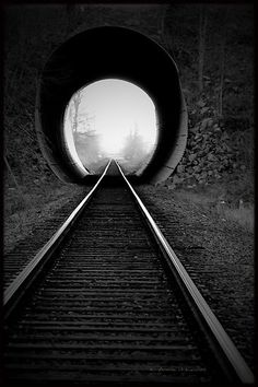 """Into the vanishing point"" Train Track- by Annie Lemay Photography. Black N White, Black And White Pictures, Trains, Vanishing Point, Photo B, Monochrom, Train Tracks, Locomotive, Black And White Photography"
