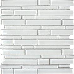 Ice Interlocking Glass Mosaic Tile in White