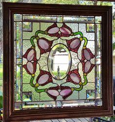 TIFFANY STYLE STAINED GLASS WINDOW ART PANEL VICTORIAN WOOD FRAME SUNCATCHER #SELLER