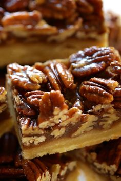 If you make one new dessert this year for Thanksgiving, made it be these! Sticky chewy pecan bars with a buttery shortbread crust. So easy and delicious and they can also be made ahead of time! WAY easier than pecan pie and much better too! Pecan Desserts, Pecan Recipes, Great Desserts, Mini Desserts, Sweet Recipes, Baking Recipes, Cookie Recipes, Dessert Recipes, Desserts With Pecans