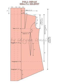 Sewing Fashion Patterns Costura 40 Ideas For 2019 Pola Kebaya Kutubaru, Kebaya Brokat, Kebaya Dress, Kebaya Hijab, Dress Sewing Patterns, Blouse Patterns, Sewing Patterns Free, Clothing Patterns, Kebaya Kutu Baru Modern