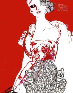 David Downton  illustration | Evening Standard Magazine