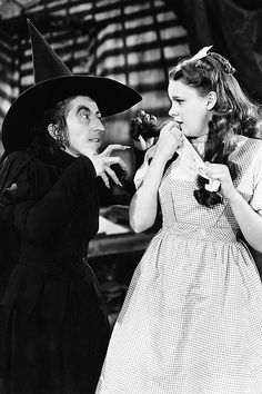 Margaret Hamilton and Judy Garland in The Wizard of Oz, 1939.