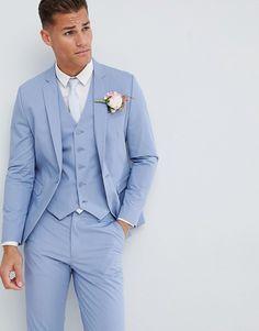 ASOS DESIGN wedding skinny suit jacket in stretch cotton in dusky blue blue wedding suit Light Blue Tux, Light Blue Suit Wedding, Blue Tuxedo Wedding, Wedding Tux, Baby Blue Suit, Blue Suit Men, Blue Suits, Prom Suit Blue, Prom Suits For Men