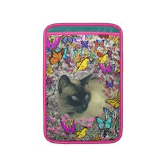 Stella in Butterflies Chocolate Point Siamese Cat Sleeve For MacBook Air from DianeClancyAnimals at Zazzle by Diane Clancy's Art