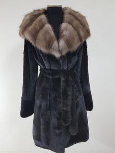 REAL NEW MINK FUR COAT FULL SKINS BLACK HOOD SAGA FUR MEXA NERZMANTEL FOX SABLE  #Handmade #BasicCoat