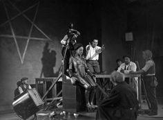 Brigitte Helm and Fritz Lang on the set of Metropolis, 1927