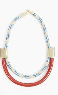 Orly Genger by Jaclyn Mayer Beige, Blue, Gold, And Red Necklace   VAUNTE