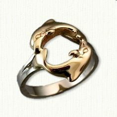 Custom 14kt Two Tone Double Dolphin Ring