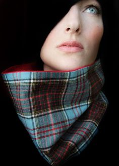 Red, Blue, and Black Plaid Cowl Scarf