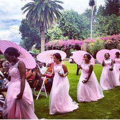 Nigerian Wedding - Bridesmaids in pink dresses Wedding Bridesmaids, Wedding Gowns, Bridesmaid Dresses, Pink Dresses, Fantasy Wedding, Dream Wedding, Wedding Things, Garden Wedding, Perfect Wedding