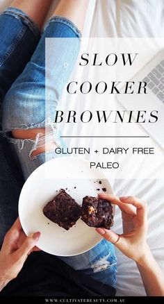 """If you think that your slow cooker is just for hearty soups and stews, then think again, friend! Today we're sharing our new favourite dessert recipe made IN the slow cooker. Paleo brownies! The beauty of """"baking"""" in the slow cooker is that the outer edge of your paleo brownie gets nice and crisp, while the middle stays soft and fudgy. This recipe is gluten free, dairy free and refined sugar free. Click for the full recipe and printable recipe card!"""