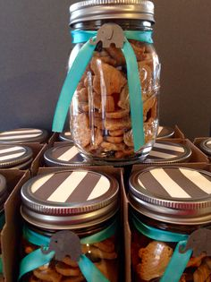 Baby boy elephant themed shower favors- animal crackers in mason jar