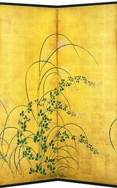 Detail. Grasses Kano School. Japanese folding screen. 18th-19th century. Itabashi Art Museum. One of a pair. 板橋区立美術館. 狩野了承「秋草図屏風」18〜19世紀 板橋区立美術館蔵