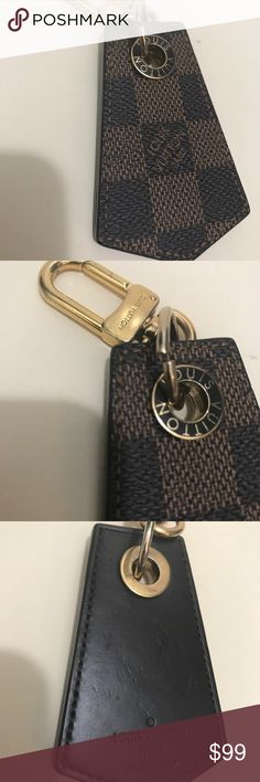 Louis Vuitton Damier Ebene Enchappe Keychain Charm Louis Vuitton Damier Ebene Enchappe Keychain Charm. Used. For keys. Some use for bag charm. Missing the large gold ring for keys. No box or tags. 2017 date code. Louis Vuitton Accessories Key & Card Holders