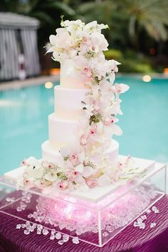 Cake with Cascading Orchids | photography by http://www.elainepalladino.com/
