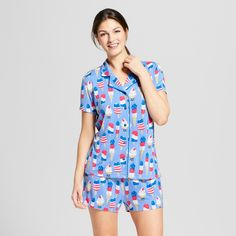 d2325bd80f141 Nite Nite Munki Munki Patriotic Popsicles Short Sleeve and Short Coat Pajama  Set - Blue Xxl