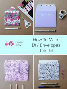 How To Make DIY Envelopes Tutorial You'll want to hang onto old Christmas and Birthday card envelopes after reading this post! Upcycle old envelopes into envelope templates! Learn How To Make DIY Envelopes in minutes using scrapbooking paper and cardstock Diy Envelope Tutorial, Diy Envelope Template, Scrapbook Paper Projects, Diy Scrapbook, Scrapbooking Layouts, Diy Crafts Using Scrapbook Paper, Envelope Scrapbook, Scrapbook Letters, Scrapbook Templates