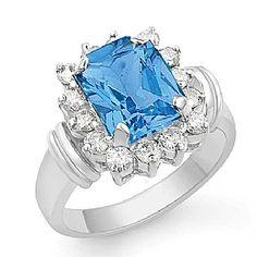3.45 Ct Blue Topaz Gemstone Diamond Fashion Ring 14k Gold