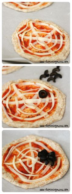 Fun spider web pizzas for Halloween! recipes for halloween Postres Halloween, Recetas Halloween, Healthy Halloween, Halloween Dinner, Halloween Goodies, Halloween Food For Party, Halloween Birthday, Halloween Treats, Halloween Party