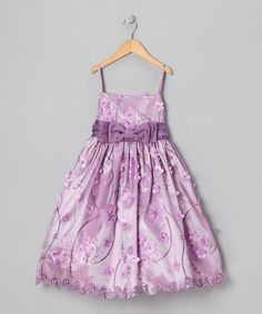Take a look at this Lilac Floral Bow Dress - Girls by Caldore on #zulily today!