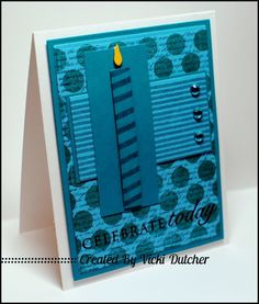 handmade birthday card from Vicki Dutcher/All I Do Is Stamp ...monochromatic blues in pretty layers of patterned papers .. candle with small yellow flame that really stands out against all the blue ... great card ... Stampin' Up!