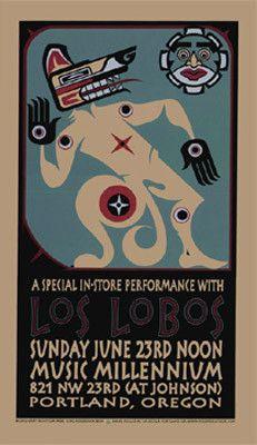2002 Los Lobos - Portland Concert Poster by Gary Houston