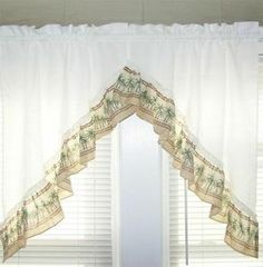 Attractive Palm Trees Tropical Kitchen Curtains Swag Valance Pair Window Topper Green  Ivory