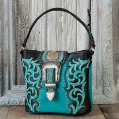 Montana West Pasadena Black and Turquoise Concealed Carry Handbag