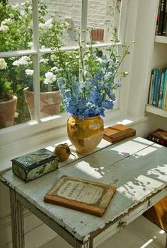 Delphiniums and an old desk.