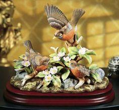 Amazon.com: Andrea By Sadek Robin Birds Family with Apple Blossoms