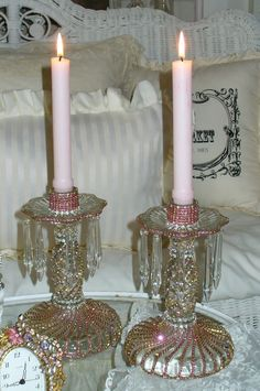 Beautiful Bejeweled Antique Crystal Candlesticks Set 3 Pink Shimmer By Del Rosario-Antique, Rhinestones, Glass, Crystal, Victorian,pink Bling