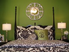 damask bedding teen room but with lime green walls punches of bright colors
