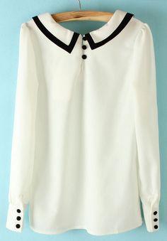 White Lapel Long Sleeve Back Buttons Blouse - Sheinside.com