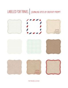 Freebie | Labeled For Travel Journaling Spots | by Creativity Prompt; just lovely! Cut with Spellbinders Label #1 Die.