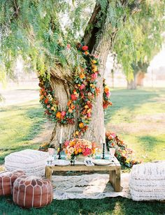floral tree wreath // decor for outdoor wedding