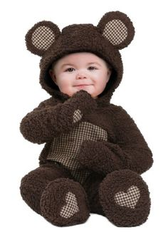 This cozy baby brown bear costume for infants features a furry hood and heart design on the feet.