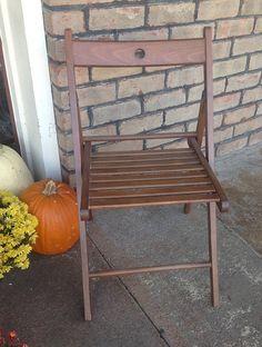 Vintage Wooden Folding Chair Slat Seat Folding Chair Garden