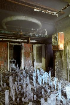 Ice stalagmites under abandoned clinic building Greystone Park State Hospital, Morris Plains, NJ circa 2007