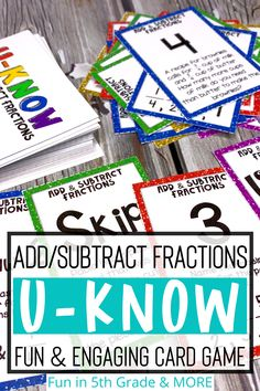 Are you looking for a fun and engaging way to review math skills? This U-KNOW review game is it! This card game is a similar to UNO and your students will LOVE it! This game reviews adding and subtracting fractions! Great for small groups, math centers and stations! The perfect test prep and review day activity to for 5th grade math! Math Websites, Adding And Subtracting Fractions, Fraction Games, Teaching Fractions, Fifth Grade Math, Math Lesson Plans, Early Finishers, Math Facts, Test Prep