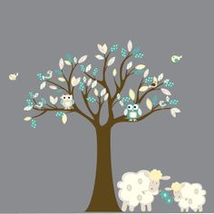 Custom listing Vinyl wall decal Nursery Tree with lambs,owls,birds pattern leaves on Etsy, $125.00
