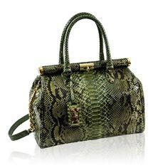 Ghibli Italian Designer Military Green Python Leather Large Purse Doctor Bag   Handbags  Amazon. 54ffcd24b0dc8